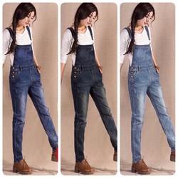 Yếm jeans dài phối túi to