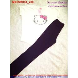Set áo tay con hình Kitty đáng iu phối quần dài SRD34