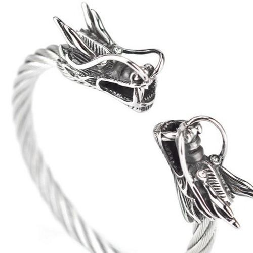 Vòng tay inox nam cáp đầu rồng màu trắng cao cấp
