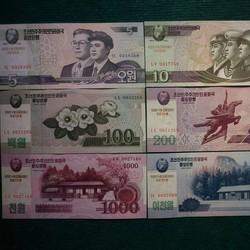 Bộ 9 tờ tiền cotton Bắc Triều Tiên full mệnh giá