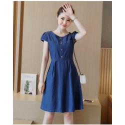 Đầm jean xòe cổ tròn phối túi thời trang - MN 763