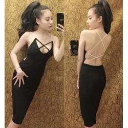 Đầm body hở lưng sexy đan dây