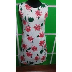 Đầm suông 3D họa tiết hoa hồng
