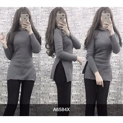 Áo thun form dài xẻ tà