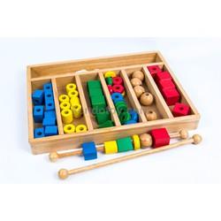 Hộp gỗ xâu hạt | đồ chơi gỗ an toàn cho bé