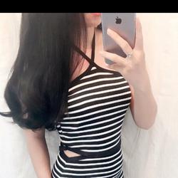 Đầm sọc body cổ yếm khoét eo