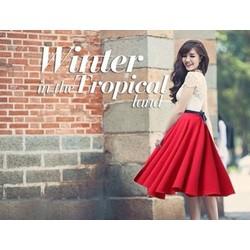 Chân váy đỏ nơ đen giống Bích Phương Idol