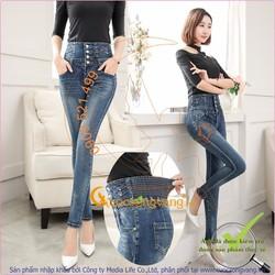 Bán sỉ quần jean nữ lưng cao lưng thun co giãn GLQ025 bốn nút