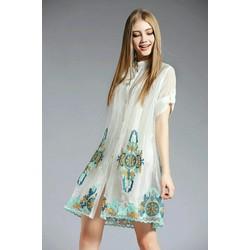 Đầm suông cổ trụ họa tiết hoa
