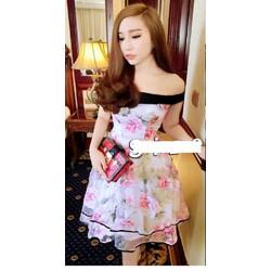 Đầm bẹt vai hoa hồng giống bella