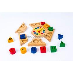 Đồ chơi gỗ | đồng hồ lục giác cho bé vui học