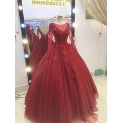 áo cưới tay dai đỏ hở lung sang trọng