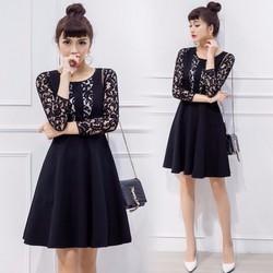 Đầm xòe phối ren thời trang cao cấp 2017 - #10729