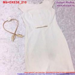 Đầm xòe trắng tay con đính nơ trẻ trung DXE58