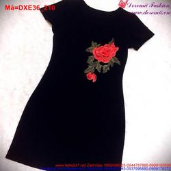 Đầm xòe tay ngắn thêu hoa hồng nổi bật DXE36