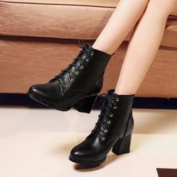 Boot nữ cột dây cổ ngắn êm chân