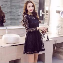 Đầm xòe phối ren hoa thời trang cao cấp - #10734