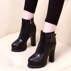 Giày boot nữ đế vuông cổ ngắn sành điệu