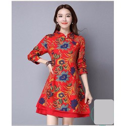 Đầm xòe đỏ cổ tàu họa tiết hoa - NR152
