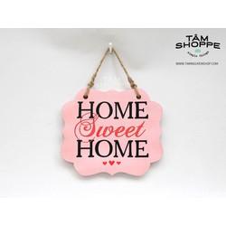 Bảng gỗ treo HOME SWEET HOME màu Hồng