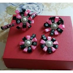 Set cài tóc hoa màu hồng