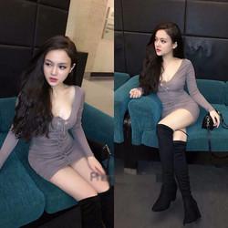 Đầm body tay dài luồn dây