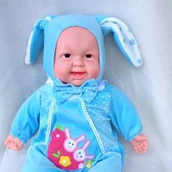 Búp bê sơ sinh biết cười nắc nẻ rất vui, đội nón tai thỏ. 48cm