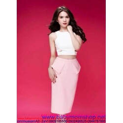 Sét áo croptop ôm bo eo và chân váy bút chì xinh đẹp SEV209