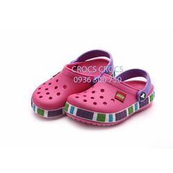 Crocs Lego trẻ em màu hồng