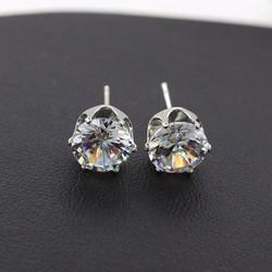 Bông tai kim cương xinh xắn, quý phái BT34 - Màu bạc