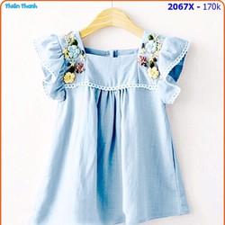 Đầm cổ vuông thêu hoa sành điệu cho ngày hè