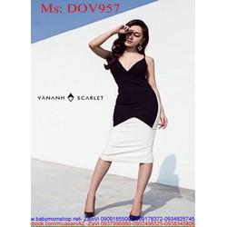 Đầm body 2 dây cổ V quyến rũ phối 2 màu cá tính sành điệu DOV957