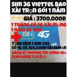 sim 3G Viettel trọn gói 12 tháng một tháng có 5g