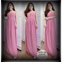 Đầm maxi 2 dây màu hồng