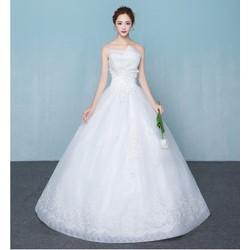 Váy cưới công chúa, thân cúp voan có ren, chân ren tinh tế