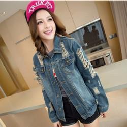 áo khoác jeans rách cái bang Mã: AO2796
