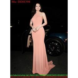 Đầm dạ hội thiết kế cổ yếm sexy màu hồng dễ thương và quyến rũ DDH39