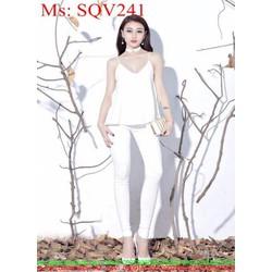 Sét trắng áo 2 dây phối quần baggy sành điệu xinh đẹp SQV241