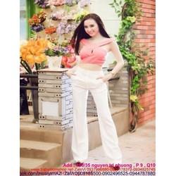 Sét áo kiểu chéo vai khoét giọt nước và quần dài suông SQV83