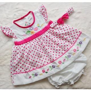 Đầm Bé Gái Kèm Băng Đô Nơ Chấm Bi Màu Hồng - QAG1158 thumbnail