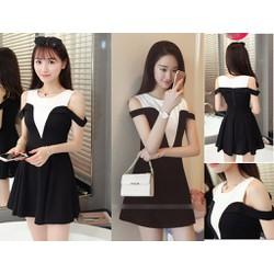 Đầm xòe rớt vai phối màu đen trắng đầy quyến rũ - AV5170
