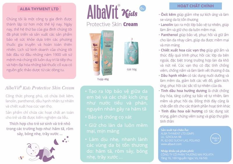 Kem hăm tã, bảo vệ da bé AlbaVit Kids Protective Skin Cream 2