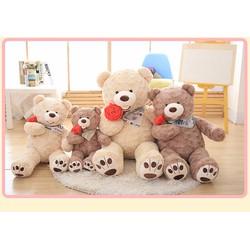 Quà tặng thú bông gấu costo cầm hoa hồng 1m