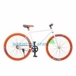 Xe đạp Fixed Gear Single - Trắng phối cam