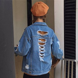 áo khoác jeans rách cá tính Mã: AO2723 - XANH