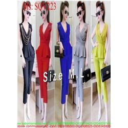 Sét áo tùng xòe sát nách cổ V phối quần ống ôm thời trang SQV223