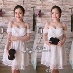 Đầm ren xòe cúp ngực