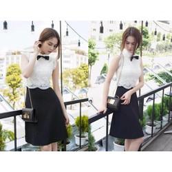 Đầm xòe ren trắng phối váy đen đính nơ cổ  giống Ngọc Trinh - AV5440