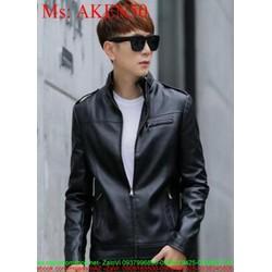 Áo khoác da nam cổ trụ phối khóa kéo thời trang AKEN50