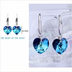 Bông tai đá trái tim xanh biển BH626